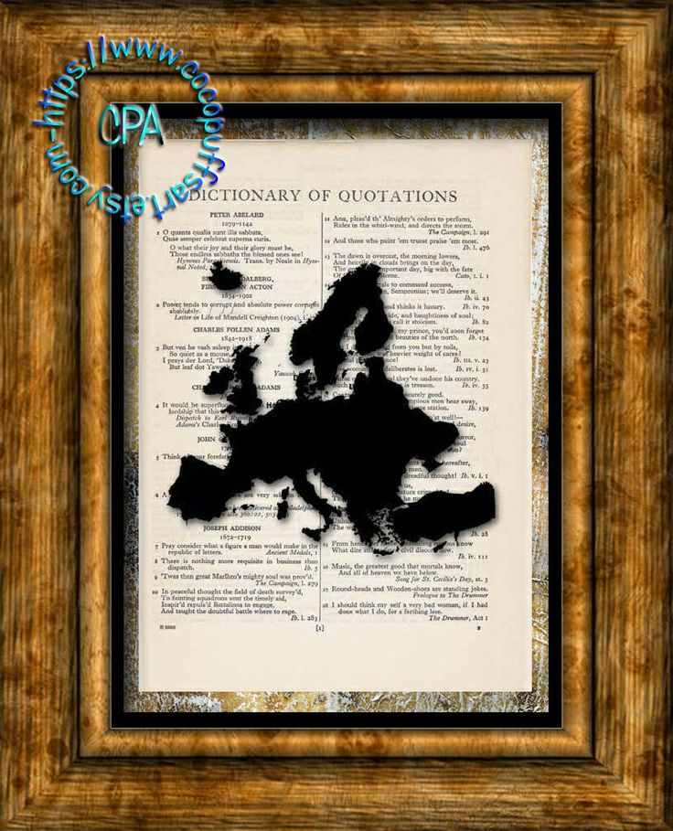 EUROPE Continent Black Silhouette Art - Beautifully Upcycled Vintage Dictionary Page Book Art Print by CocoPuffsArt on Etsy