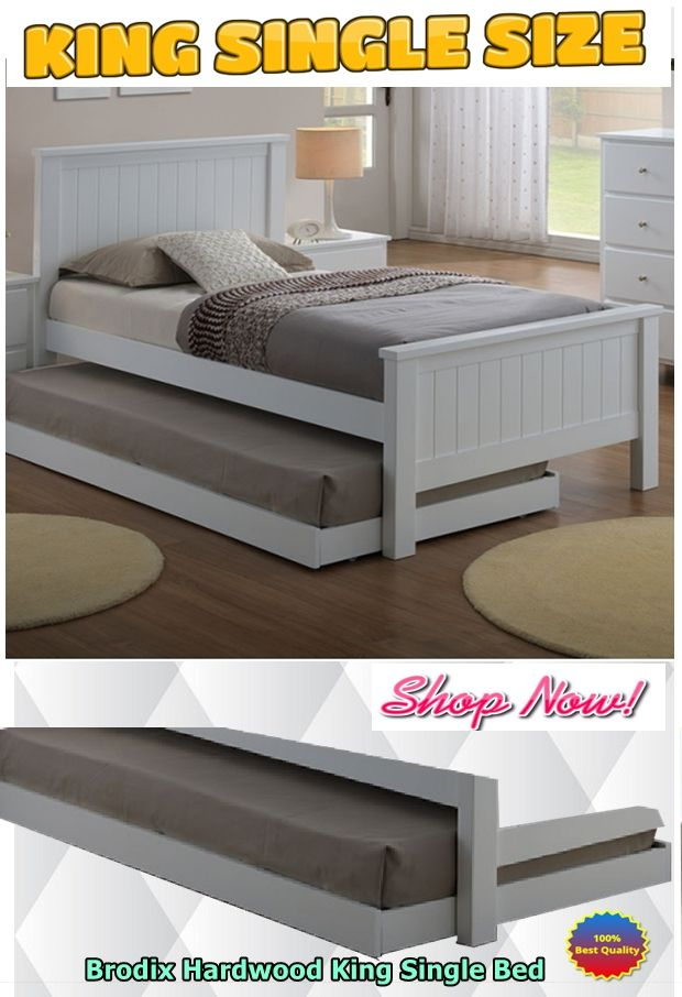 Greenville King Single Bed Frame - White (Trundle excluded ...