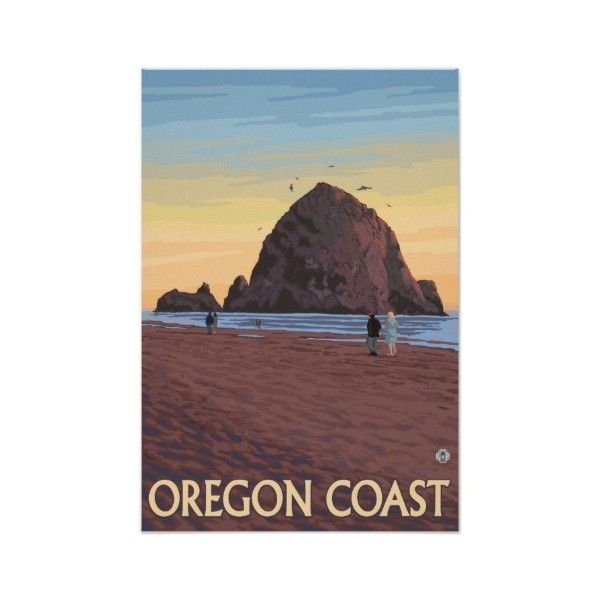 Haystack Rock Vintage Travel Poster (42 BRL) ❤ liked on Polyvore featuring home, home decor, wall art, vintage posters, rock posters, vintage home decor, vintage wall art and vintage rock posters