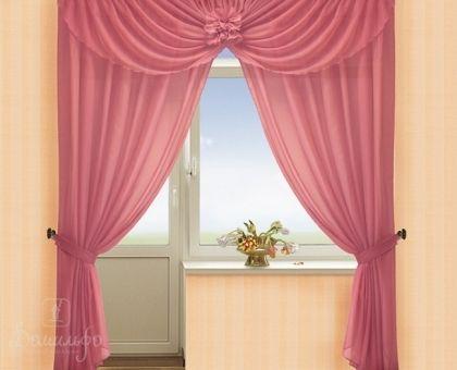 Купить комплект штор с ламбрекеном АНДРЕА брусника от производителя РеалТекс (Россия)