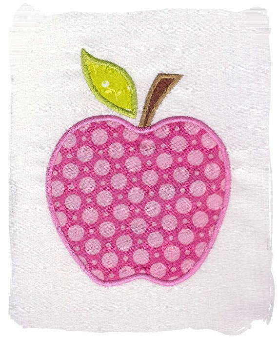 Apple Machine Embroidery Applique Design by pinkfrogcreations, $2.80