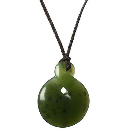 Light Green Hokitika Pounamu Twist Necklace : Mountain Jade New Zealand