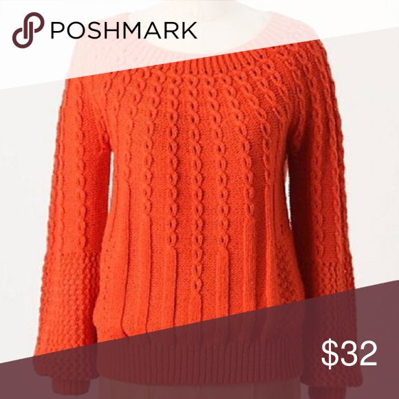 Anthro Sweater Orange Pullover sweater by Guinevere from Anthropologie. Very well made with pretty intricate details. Anthropologie Sweaters