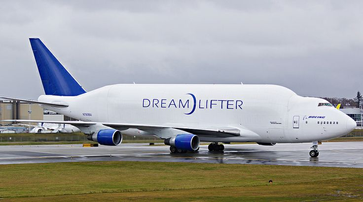 Exhibit B. Boeing's Dreamlifter is a modified 747-400 built to move sections of the new 787 Dreamliner between factories in Kansas and Washington State. We see these huge planes quite often flying over Wichita, Kansas.
