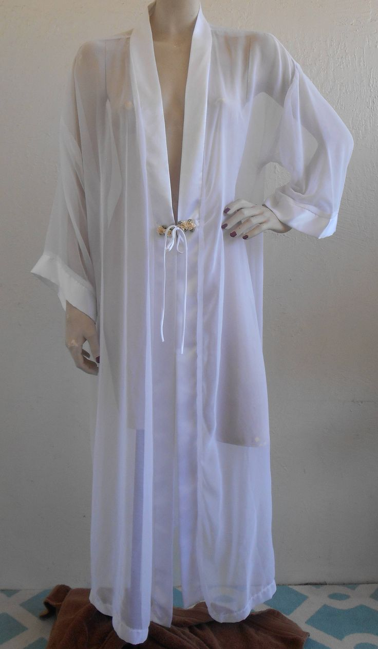 Vintage Sheer Chiffon Dressing Robe Peignoir Fredrick's of Hollywood by desertgraceboutique on Etsy