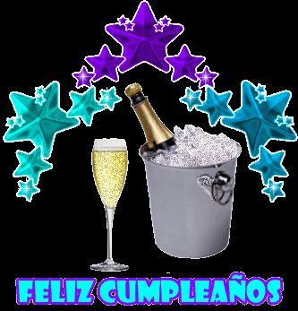 Feliz Cumpleaños junto a botella de cava para brindar