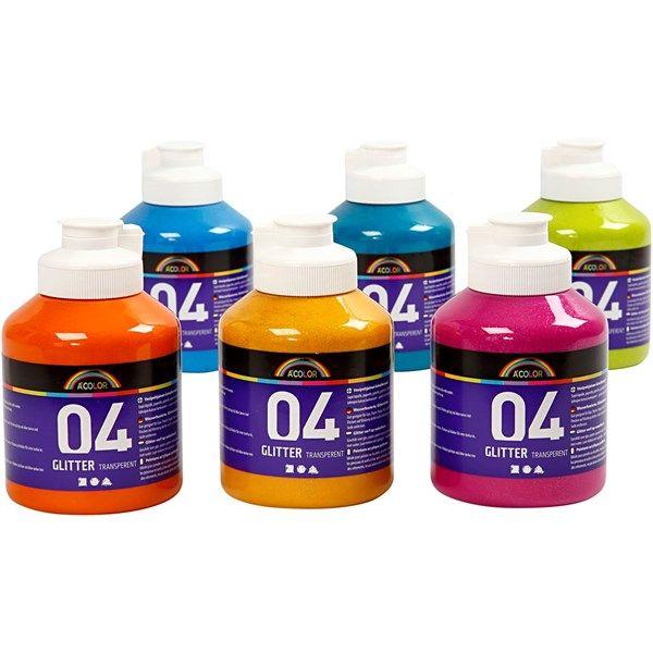 A-Color akryylimaali, 6x500 ml, värilajtelma
