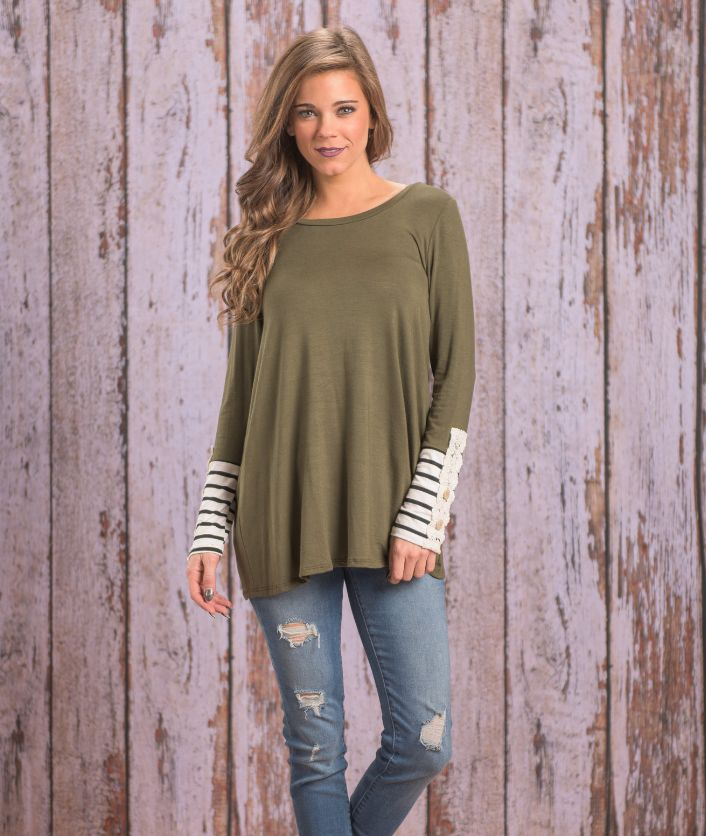 Just Follow Me Top- Color Olive