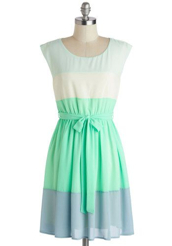 Sash Decision Dress - Mint, Blue, White, Stripes, Belted, Casual, A-line, Cap Sleeves, Scoop, Mid-length, Pastel