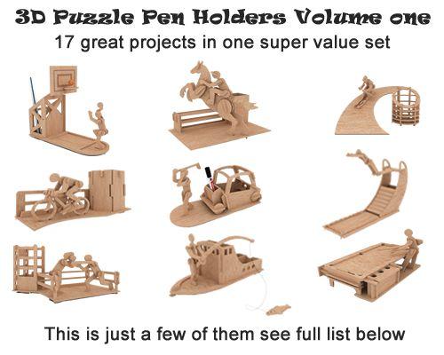 3d Puzzle Pen Holders Volume one - Pen Holders   MakeCNC.com