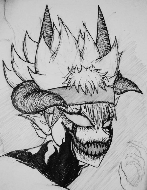 Tried No Finish This Pretty Messy Sketch Of My 100 Demon Asta But I Ran Out Of Ink The Hair Would Be Black Black Clover Manga Black Clover Anime Dark Anime