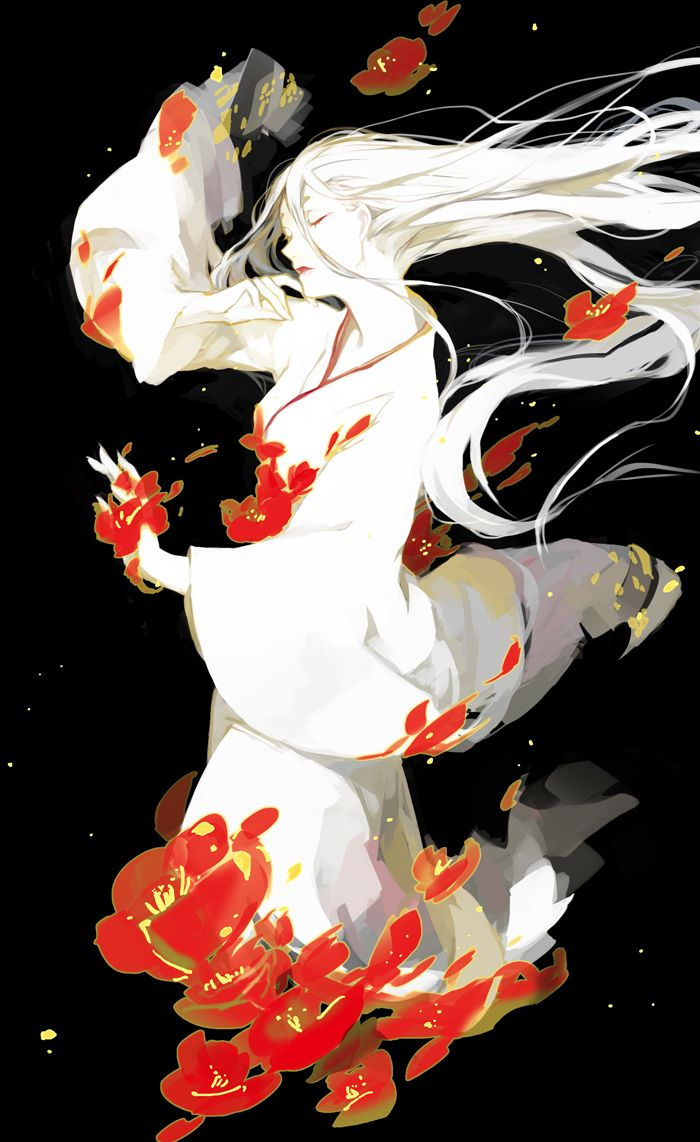 closed_eyes flower ibaraki japanese_clothes kimono long_hair original solo white_hair