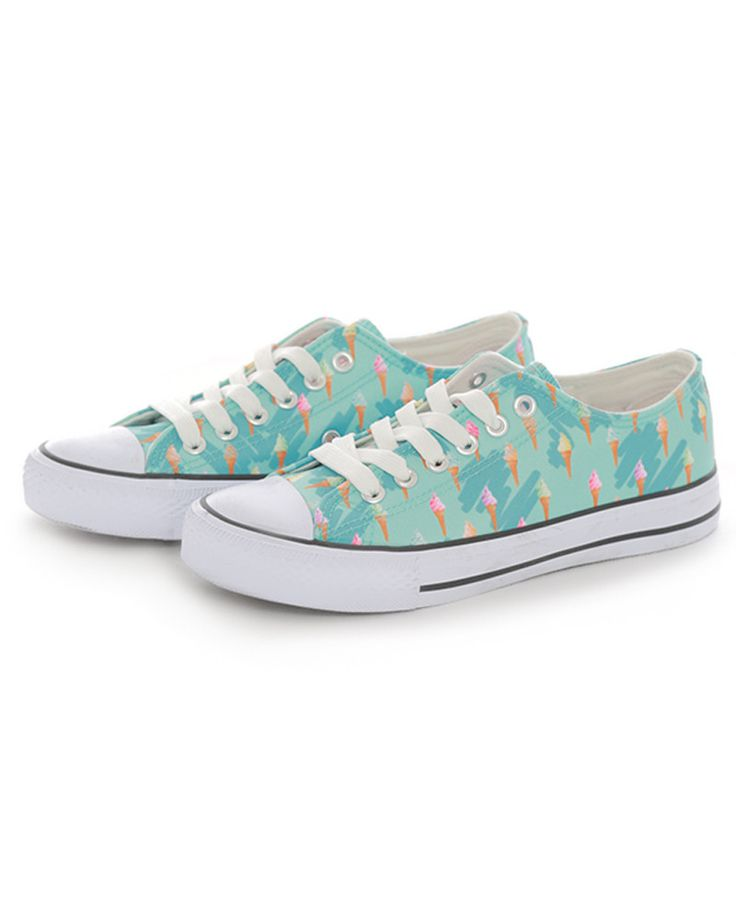 Mint Green Ice Cream Print Sneakers - Sneakers - Shoes - Accessories