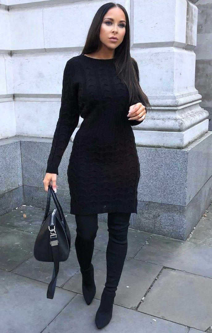 Black Cable Knit Jumper Dress Winter Luxegal Pinterest