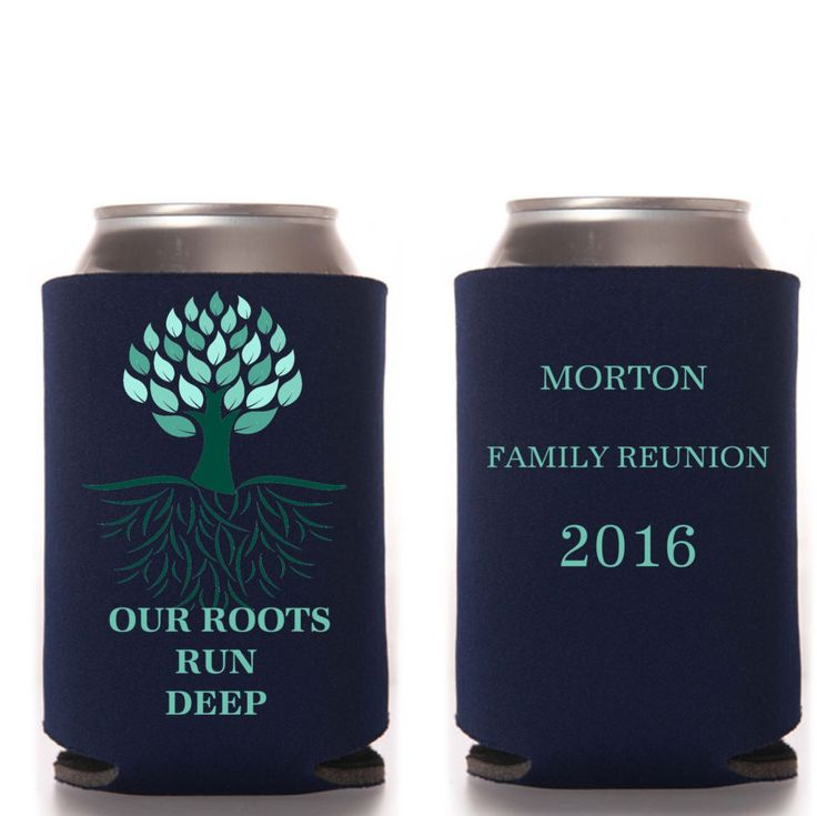 Our Roots Run deep Family Reunion Favors, Personalized, Beer Can Cooler, Bottle…                                                                                                                                                                                 More