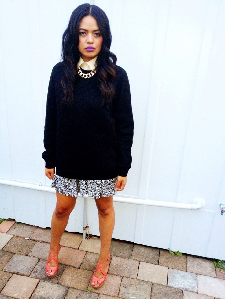 Black quilted crew