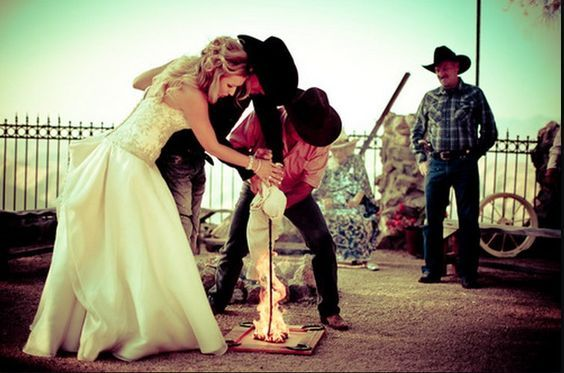 cowboy wedding...this would be awesome if I didnt have to worry about my dress catching fire!