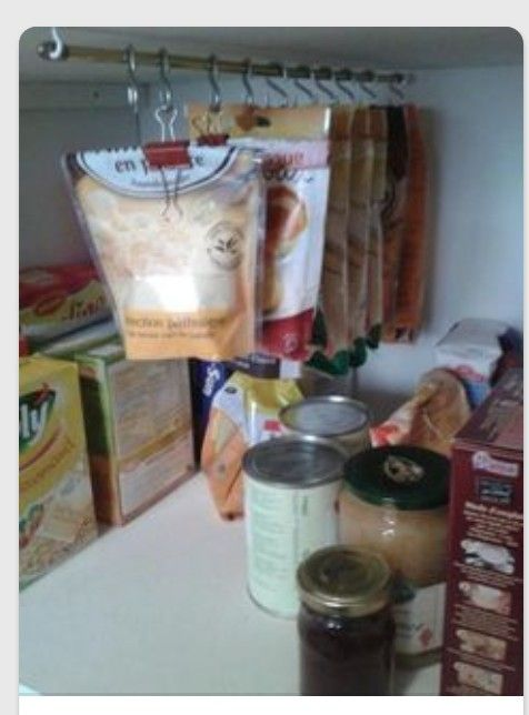 Use Black Clips To Hang Bags From A Rod In The Pantry   Space Saver And