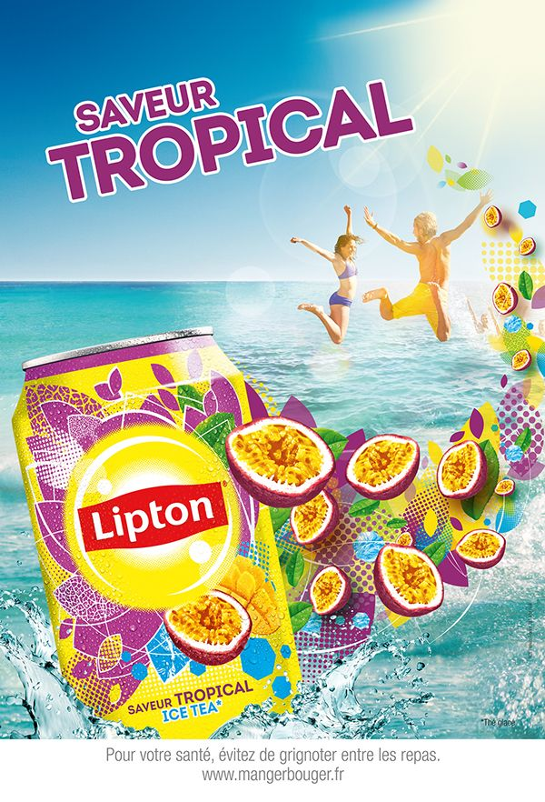 Lipton Iced Tea print ad 'Saveur Tropical' depicts beach scene and can of Tropical Ice Tea, c. 2000s