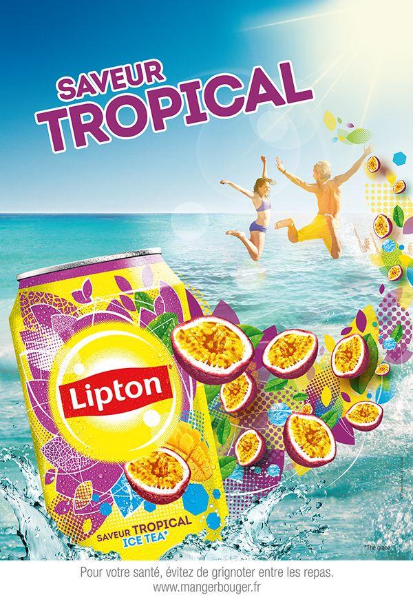 Lipton Iced Tea print ad 'Saveur Tropical' depicts beach scene and can of Tropical Ice Tea, c. 2000s