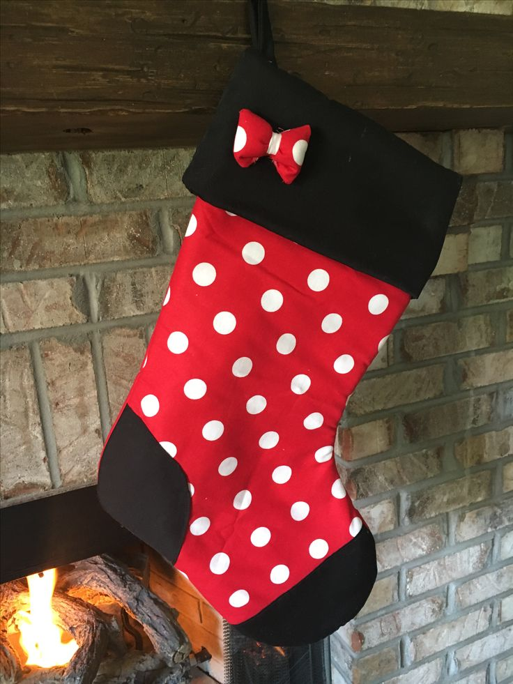Disney inspired Minnie Mouse Christmas stocking