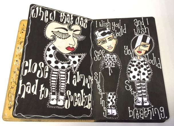 Tutor sandra botham spend the day creating black and white journal pages in your journals