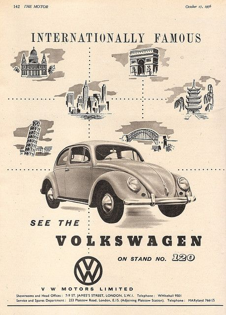 Volkswagen Motors - Beetle - car advert issued inThe Motor, 1956 by mikeyashworth, via Flickr
