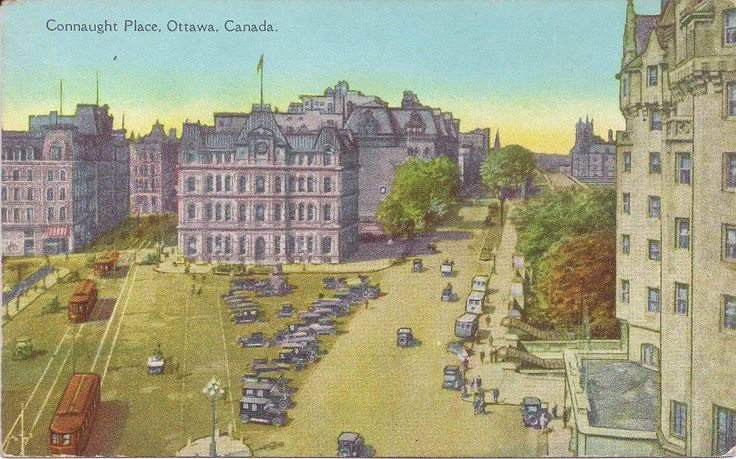 Postcard from Ottawa ... looking down on Connaught Plaza from the top of the Lost Daly Building, circa 1920. By then the Sappers and Duffering bridges had been replaced, and the space between them also over to form a large triangular square. Russell House on the left, Old Post Office in the Middle and Chateau Laurier on the right. Rideau Canal passes underneath.