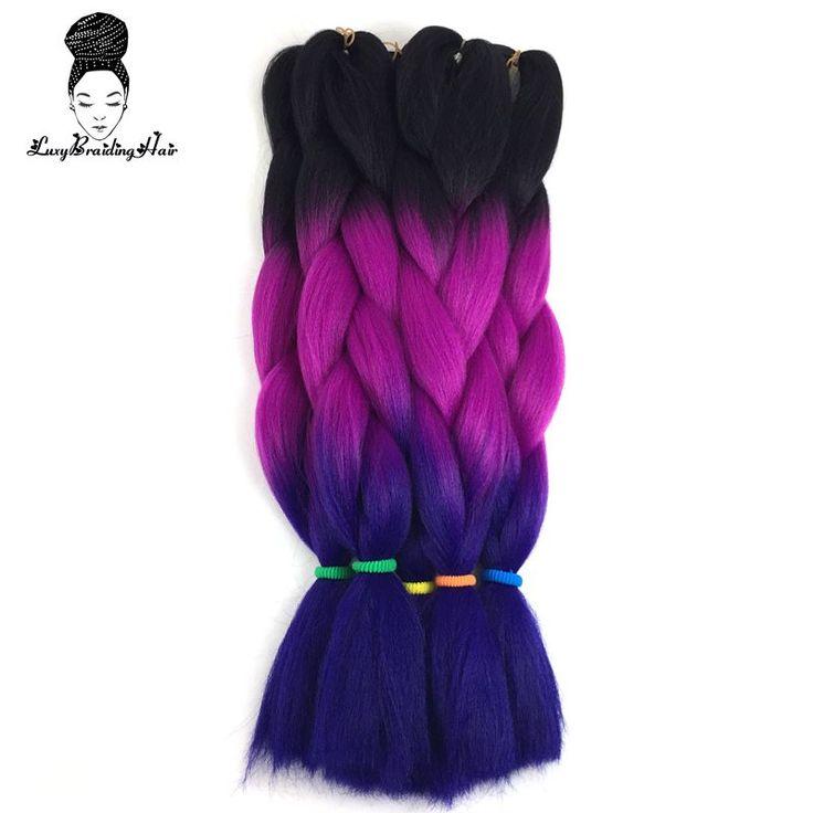 24 дюймовый Черный Фиолетовый Синий Ombre Крючком Коробку Косы kanekalon Ломбер Три Тона Джамбо Плетение Синтетических Волос