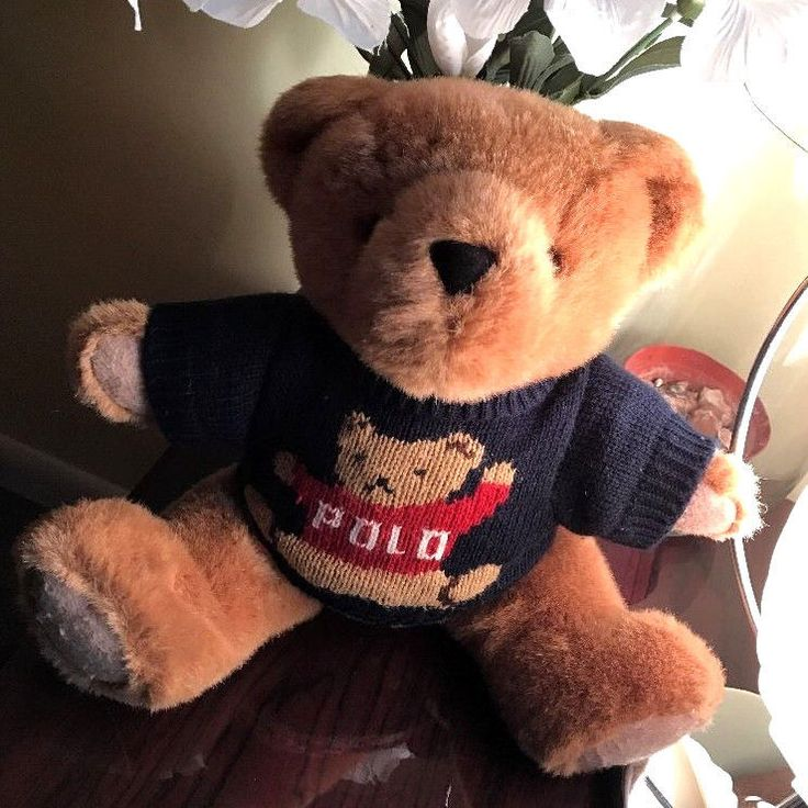 "Vintage 1997 POLO Ralph Lauren Teddy Bear Sweater Plush Doll Stuffed Animal 16"" #RalphLauren"