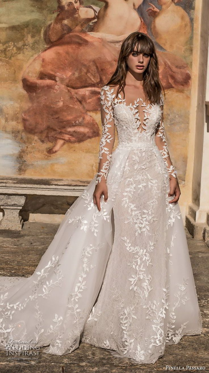 pinella passaro 2018 bridal long sleeves deep plunging sweetheart neck full embellishment princess romantic fit and flare wedding dress a  line overskirt long train (15) mv -- Pinella Passaro 2018 Wedding Dresses