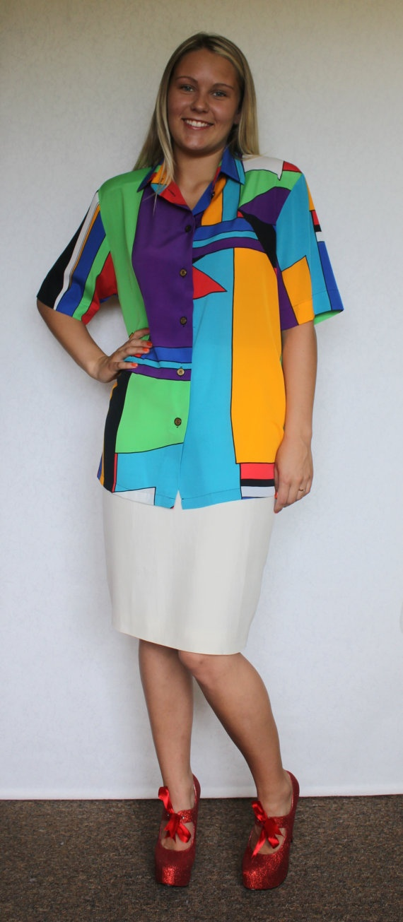 Colorful Bright Silky  Mondrian Color Block by ArtasStore on Etsy, $26.00