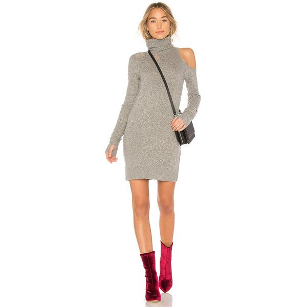 Pam & Gela Sweater Dress (£210) ❤ liked on Polyvore featuring dresses, ripped sweater dress, cut-out dresses, distressed sweater dress, torn dress and cut out sweater dress
