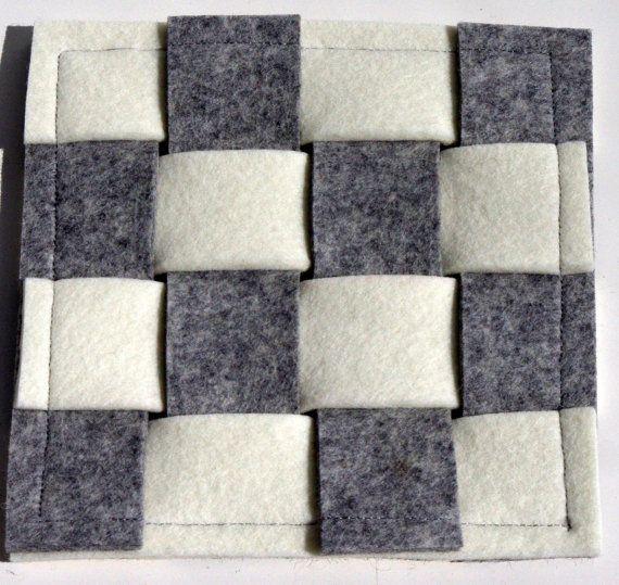 Felt Coaster Cream and Grey Felt Coaster Wool Felt by WeltinFelt