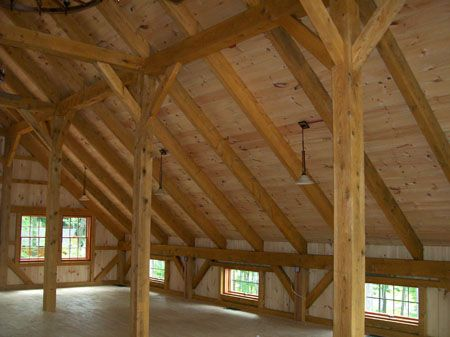 Wood barn kit pictures timber frame kit homes gallery for Maine post and beam kits