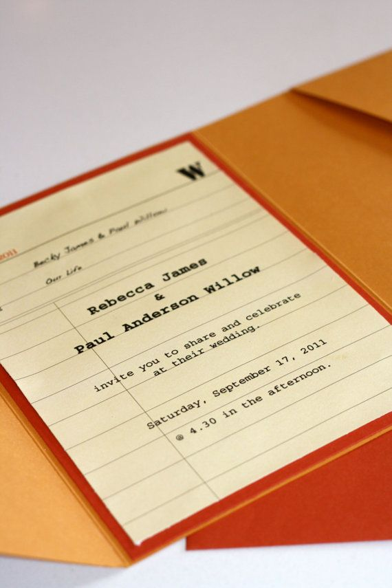Love these Library inspired invitations u0026 save the