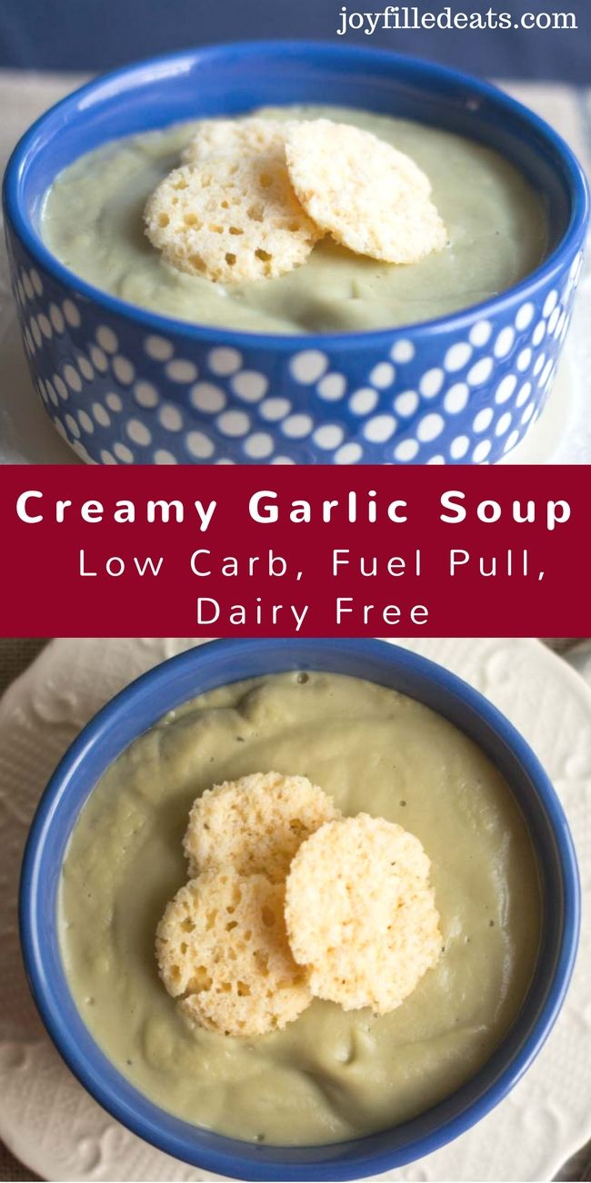 Creamy Garlic Soup - Low Carb, Dairy Free, Fuel Pull - This Garlic Soup is rich & creamy while being a dairy free fuel pull. The creaminess comes from a combination of okra, cauliflower, and coconut oil.  via @joyfilledeats