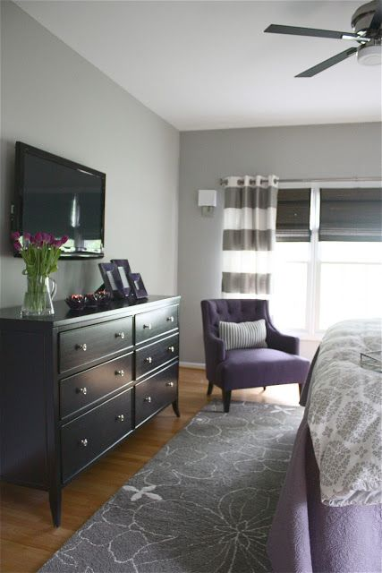 Grey and purple master bedroom. Paint: Sherwin Williams - Mindful Gray