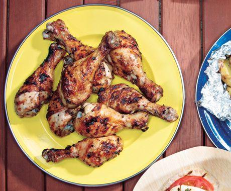Grilled Lemon-Oregano Chicken Drumsticks Recipe  at Epicurious.com