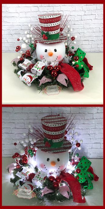 Light up Snowman Centerpiece, Christmas Centerpiece, Red Top Hat Snowman Centerpiece, Raz Christmas Centerpiece, Snowman Table Decor by Splendid Homecrafts on Etsy. #centerpiece #snowman
