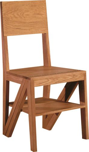 SCALA, chair made of solid oak or canaletto walnut, convertible into a stepladder