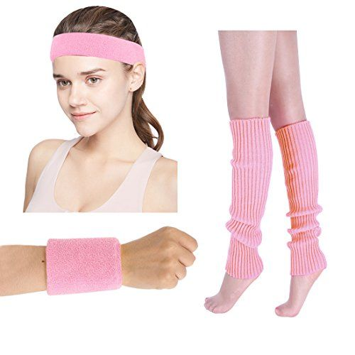 """JINSEY Women's 80s Workout Costumes accessories Neon Headband Wristband Leg Warmers Set Fit For 1980s Clothes(Pink) - JINSEY Women's 80s Workout Costumes Accessories Neon Headband Wristband Leg Warmers Set Fit for 1980s ClothesDescription: Material: Headband and Wristband: 100% Cotton Leg Warmers: 100% Ppolyester Size: Headband: 7.6"""" x 2.1"""" (LxW) Wristband: 3.1"""" x 3.1"""" (LxW) Leg warmer: 15"""" x 3.5"""" (LxW) Package ..."""