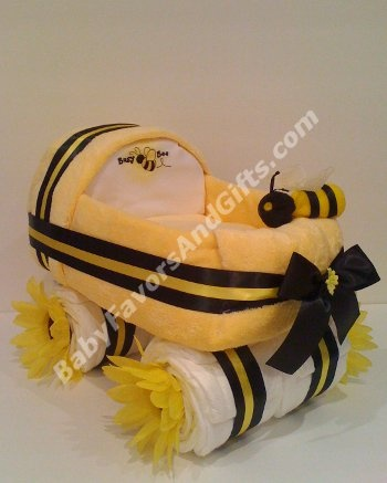 Diaper carrierShower Ideas, Baby Bees, Carriage Diapers, Gift Ideas, Bees Shower, Diapers Cake, Bees Parties, Bumble Bees, Baby Shower