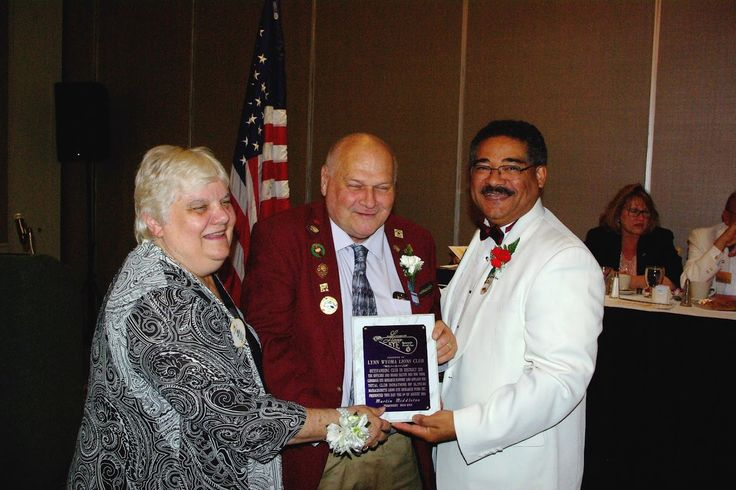 Photo in 2016-08-06 MA Lions Eye Reseach Fund Dist 33N DG Joan Parcewski and Martin Middleton - outgoing president of MLERF - present award to Lynn Wyoma Lions club