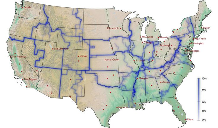 A map dividing up the United States into areas where people often interact by tracking dollar-bill circulation.