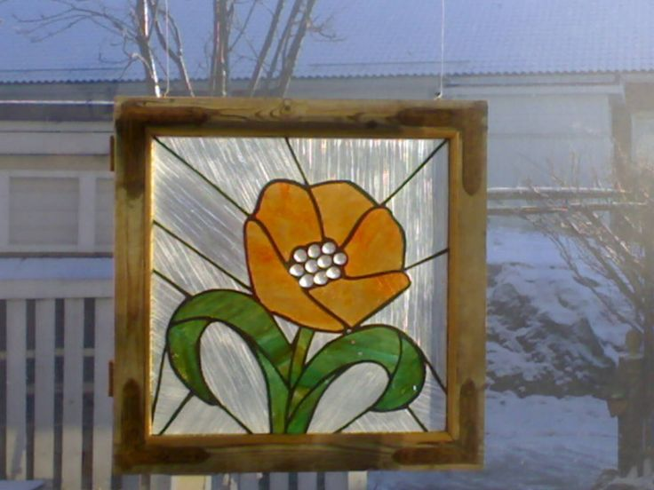 Window decoration, made in an old window frame
