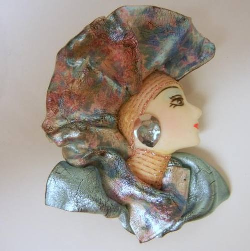 Lady Head Face Pin Brooch Porcelain Figural Signed Head