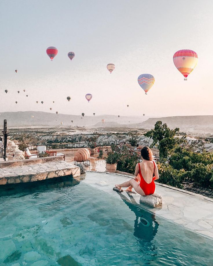 Hot air balloons from the Museum Hotel in Cappadocia, Turkey