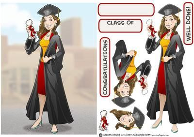 Graduation Lady Brown Hair  on Craftsuprint designed by Gordon Fraser - Congratulations all round for this graduate as shes passed her final exams! Easy to make with decoupage, blank and sentiment tiles. More versions of this lady are available. Don't forget to check out my other original designs and Dudes, just click on my name. Thanks for looking! - Now available for download!