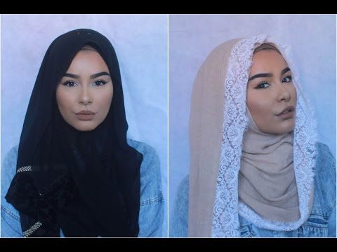 2 Hijab Styles With Patterned Borders - YouTube